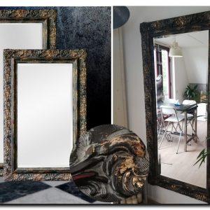 Exclusieve Spiegel Allesandro Shabby Zwart-Goud