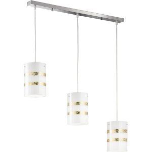 LED Hanglamp - Hangverlichting - Trion Niki - E27 Fitting - 3-lichts - Rechthoek - Mat Goud - Aluminium