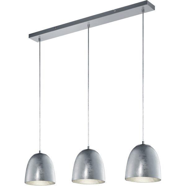 LED Hanglamp - Hangverlichting - Trion Onutia - E14 Fitting - 3-lichts - Rechthoek - Mat Zilver - Aluminium