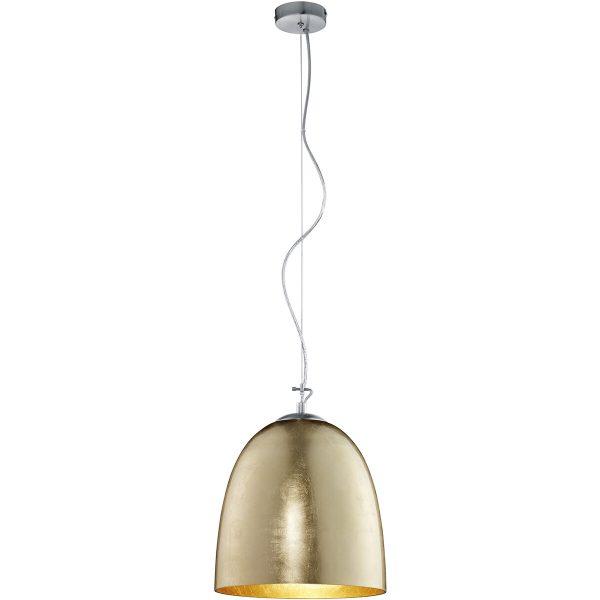 LED Hanglamp - Hangverlichting - Trion Onutia XL - E27 Fitting - 1-lichts - Ovaal - Mat Goud - Aluminium