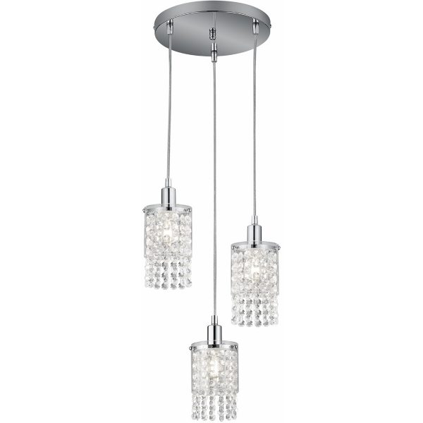 LED Hanglamp - Hangverlichting - Trion Pocino - E14 Fitting - 3-lichts - Rond - Mat Chroom - Aluminium