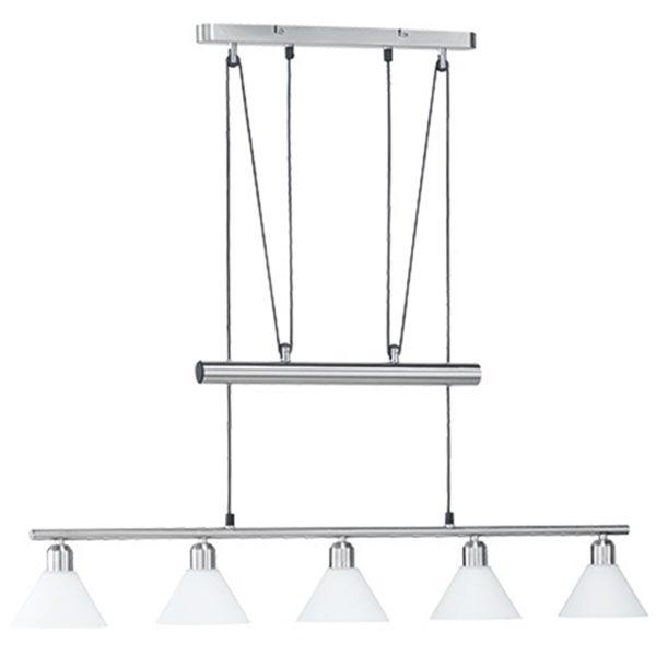 LED Hanglamp - Hangverlichting - Trion Stomun - E14 Fitting - 5-lichts - Rechthoek - Mat Nikkel - Aluminium