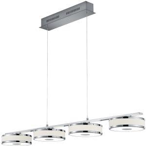 LED Hanglamp - Trion Agiany - 28W - Warm Wit 3000K - 4-lichts - Dimbaar - Rechthoek - Mat Nikkel - Aluminium