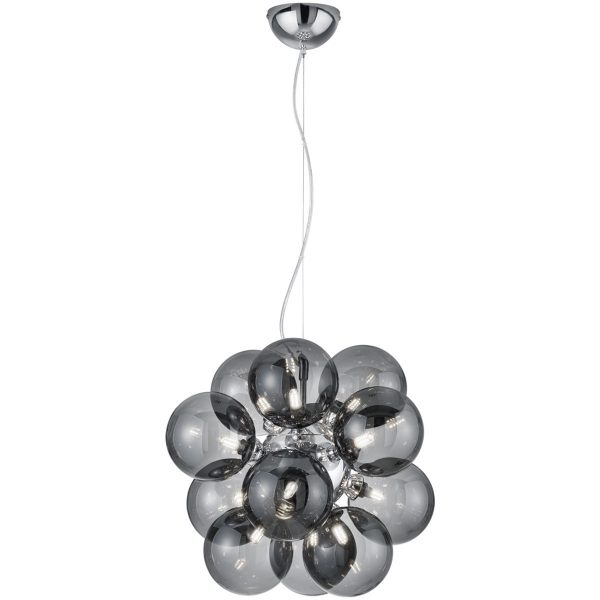 LED Hanglamp - Trion Alionisa - G9 Fitting - 12-lichts - Rond - Glans Chroom Rookglas - Aluminium