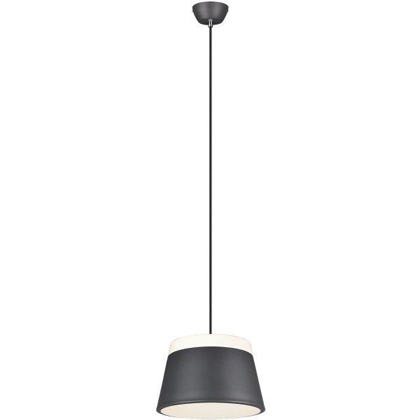 LED Hanglamp - Trion Barnaness - E27 Fitting - 2-lichts - Rond - Mat Zwart - Aluminium