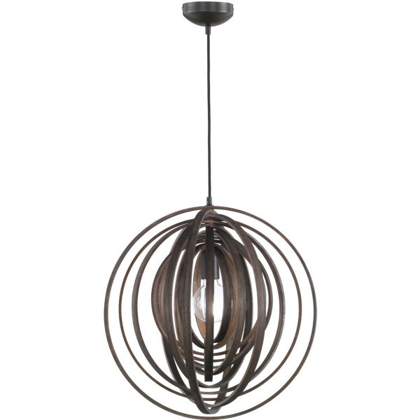 LED Hanglamp - Trion Bola - E27 Fitting - Rond - Mat Donkerbruin Hout