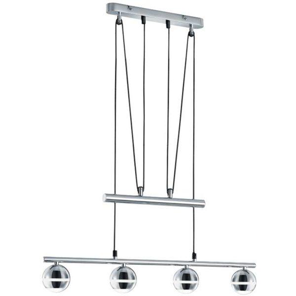 LED Hanglamp - Trion Bonaret - 12W - Warm Wit 3100K - 4-lichts - Rechthoek - Glans Chroom - Aluminium