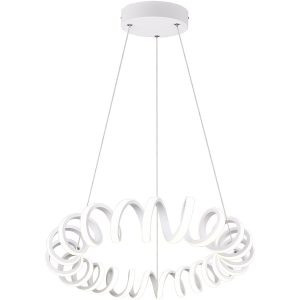 LED Hanglamp - Trion Coral - 33W - Natuurlijk Wit 4000K - Dimbaar - Rond - Mat Wit - Aluminium