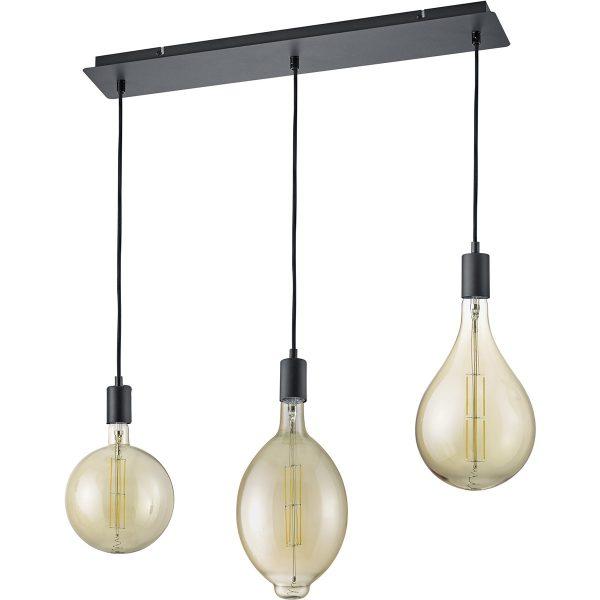 LED Hanglamp - Trion Glinsty - 24W - Warm Wit 2700K - Dimbaar - E27 Fitting - 3-lichts - Rechthoek - Mat Zwart - Aluminium