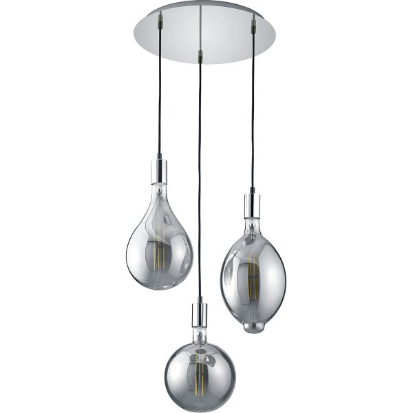 LED Hanglamp - Trion Glinsty - 24W - Warm Wit 2700K - Dimbaar - E27 Fitting - 3-lichts - Rond - Mat Chroom - Aluminium