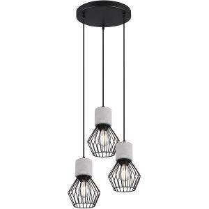 LED Hanglamp - Trion Jamo - E27 Fitting - 3-lichts - Rond - Mat Zwart - Aluminium