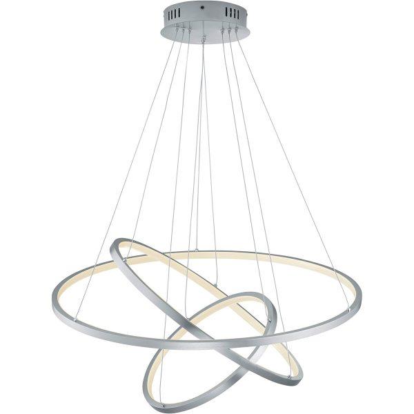 LED Hanglamp WiZ - Smart LED - Hangverlichting - Trion Noraan - 80W - Aanpasbare Kleur - RGBW - Rond - Mat Nikkel - Aluminium