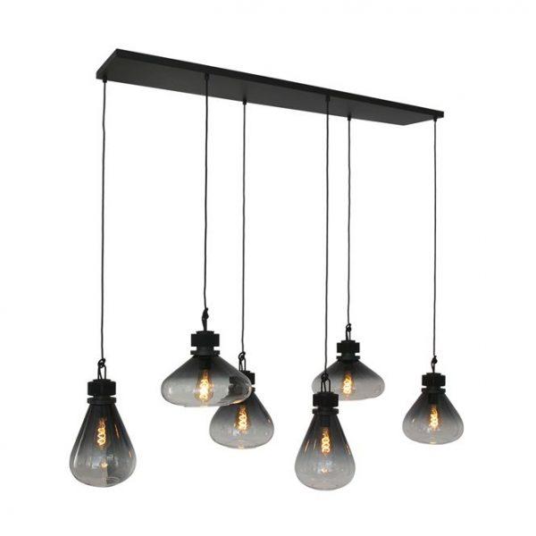Steinhauer hanglamp Flare 6 lichts - smoke glas