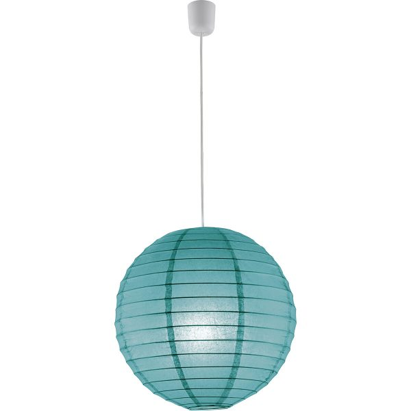 LED Hanglamp - Hangverlichting - Trion Ponton - E27 Fitting - Rond - Mat Turquoise - Papier