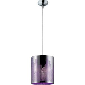 LED Hanglamp - Hangverlichting - Trion Cotin - E27 Fitting - Rond - Mat Lila - Aluminium