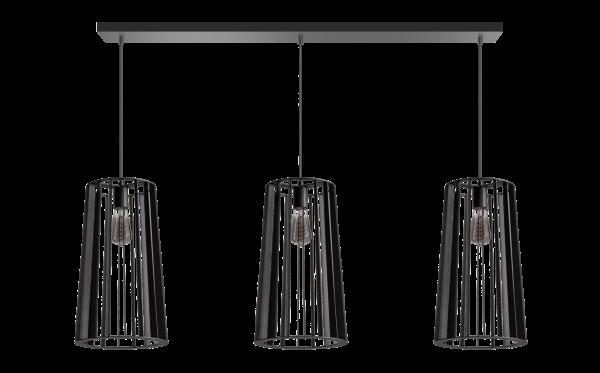 ETH hanglamp Blackbird 3 Lichts balk - zwart