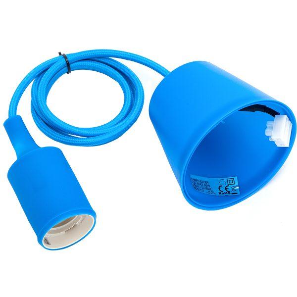 LED Hanglamp - Hangverlichting - Aigi Yuka - E27 Fitting - Rond - Mat Blauw - Kunststof