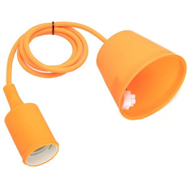 LED Hanglamp - Hangverlichting - Aigi Yuka - E27 Fitting - Rond - Mat Oranje - Kunststof