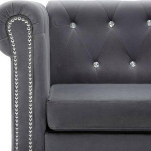 Bankstel Chesterfield-stijl fluwelen bekleding grijs 2-delig (incl. vloerviltjes)