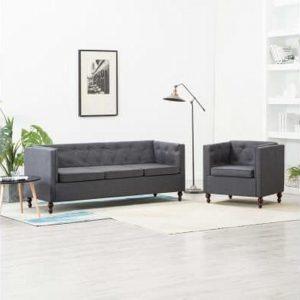Bankstel Chesterfield-stijl stoffen bekleding donkergrijs 2-delig (incl. vloerviltjes)