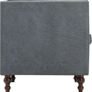 Bankstel Chesterfield-stijl stoffen bekleding grijs 2-delig (incl. vloerviltjes)