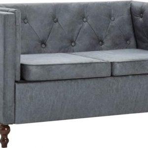 Bankstel Chesterfield-stijl stoffen bekleding grijs 3-delig (incl. vloerviltjes)