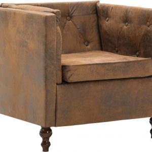 Bankstel Chesterfield-stijl suède-look stoffen bekleding bruin 2-delig (incl. vloerviltjes)