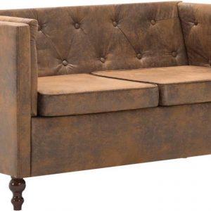 Bankstel Chesterfield-stijl suède-look stoffen bekleding bruin 3-delig (incl. vloerviltjes)