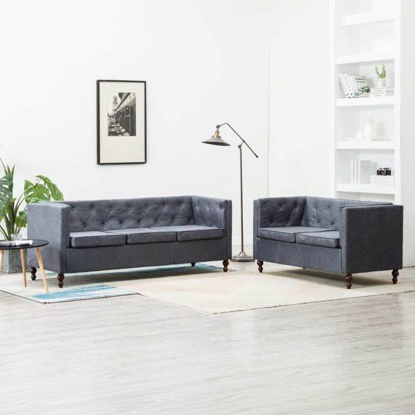 vidaXL Bankstel Chesterfield-stijl stoffen bekleding grijs 2-delig