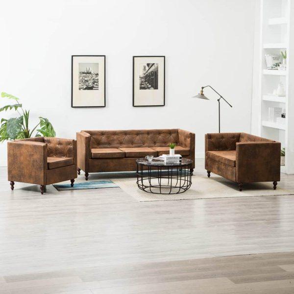 vidaXL Bankstel Chesterfield-stijl suède-look stoffen bekleding bruin 3-delig