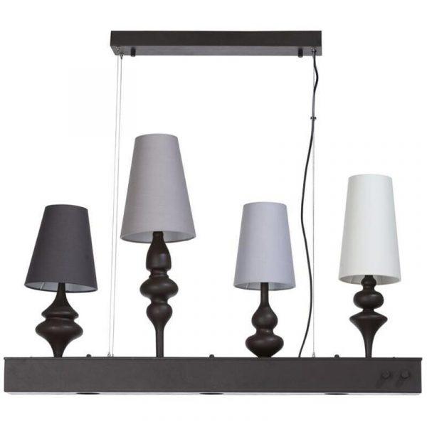 COCO Maison - Lenny Hanglamp - E14 Fitting + GU10 Fitting - 4-lichts + 3 LED Spots - Rechthoek - Mat Grijs - Aluminium