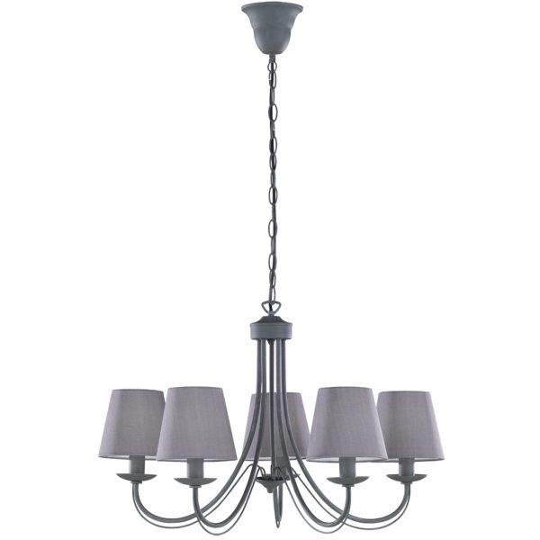 LED Hanglamp - Hangverlichting - Trion Citra - E14 Fitting - 5-lichts - Rond - Beton - Aluminium