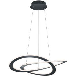 LED Hanglamp - Hangverlichting - Trion Oaky - 52W - Warm Wit 3000K - Dimbaar - Rond - Mat Zwart - Aluminium