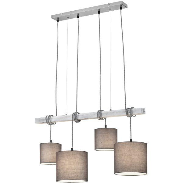 LED Hanglamp - Trion Pedma - E27 Fitting - Rechthoek - Mat Nikkel - Aluminium