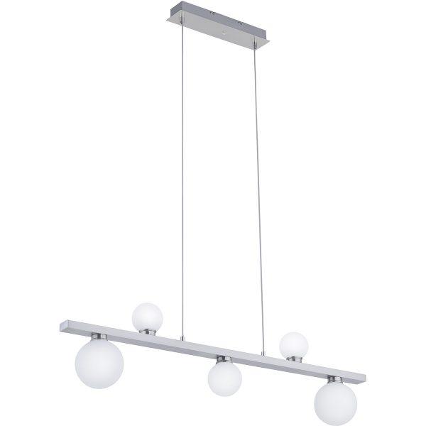 LED Hanglamp WiZ - Smart LED - Trion Dulpio - 15W - Aanpasbare Kleur - 5-lichts - Dimbaar - Rechthoek - Mat Nikkel - Aluminium
