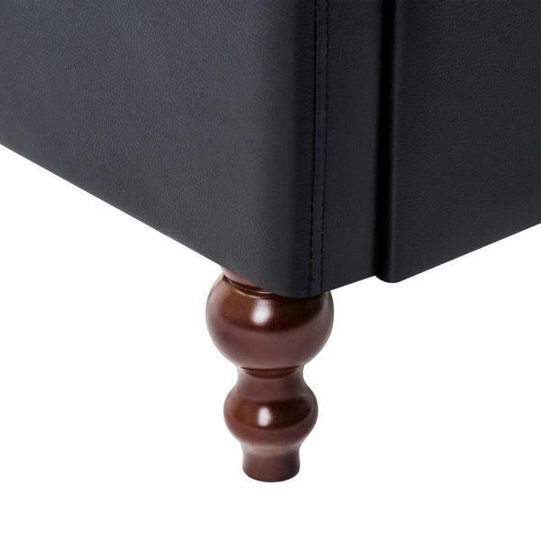 Bankstel 2-delig kunstleren bekleding zwart (incl. vloerviltjes)