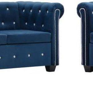 Bankstel Chesterfield-stijl fluwelen bekleding blauw 2-delig (incl. anti-krasvilt)