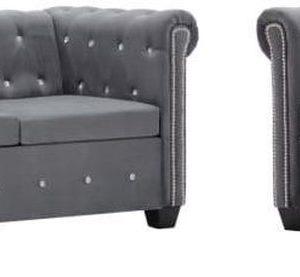 Bankstel Chesterfield-stijl fluwelen bekleding grijs 2-delig (incl. anti-krasvilt)