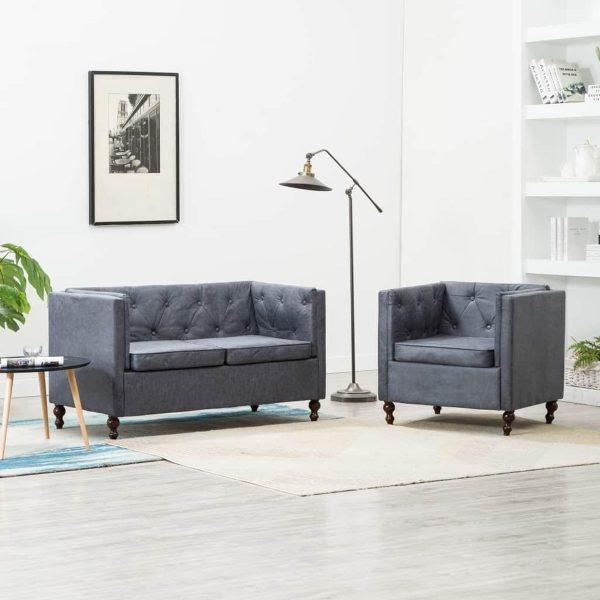 Bankstel Chesterfield-stijl stoffen bekleding grijs 2-delig