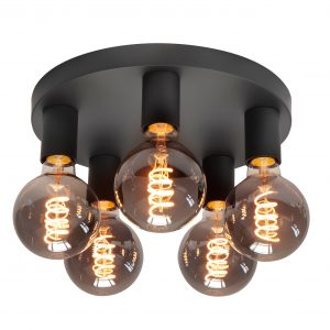 HighLight plafondlamp Basic 5 lichts - zwart