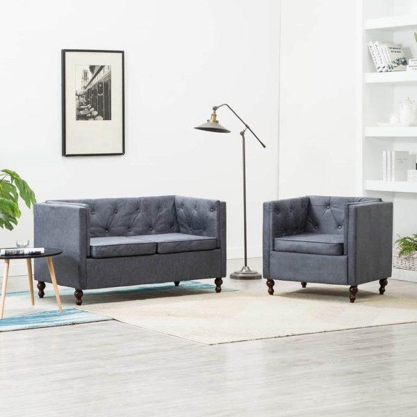 Medina Bankstel Chesterfield-stijl stoffen bekleding grijs 2-delig