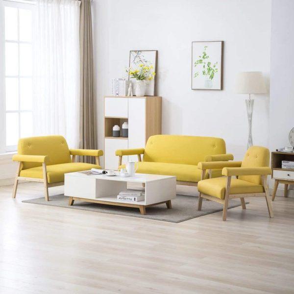 Medina Bankstel voor 6 personen stof geel 3-delig