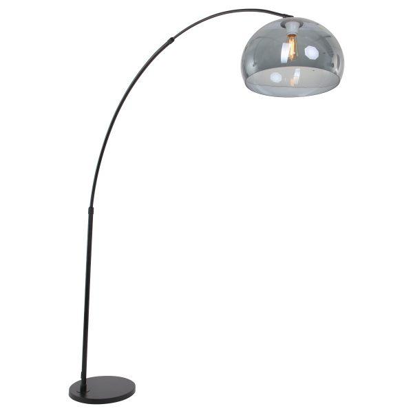 Steinhauer - Sparkled Light - booglamp met grijze kunststof kap - zwart