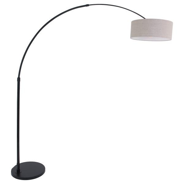 Steinhauer - Sparkled Light - vloerlamp met grijze kap - zwart
